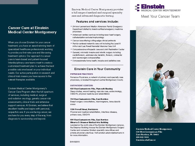 Einstein Medical Center Brochure - James Ty Cumbie Design