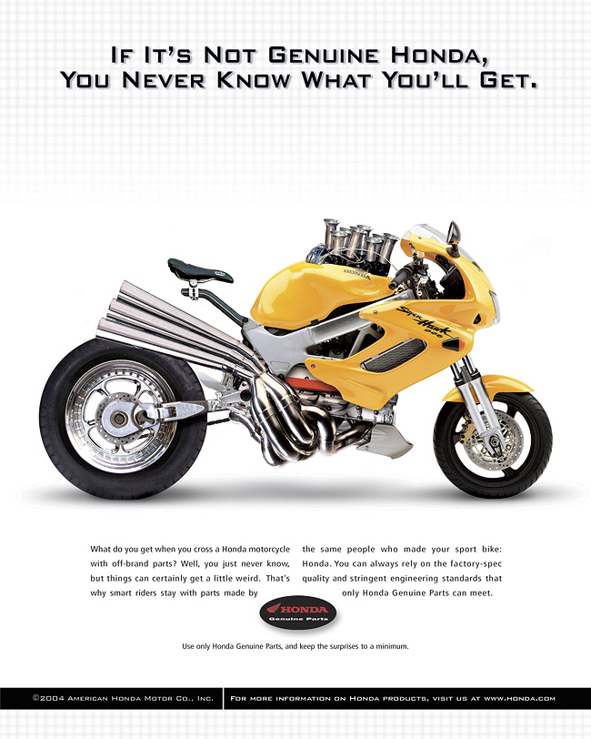 High Quality Honda Genuine Parts Ad Illustrations. Client: Honda Agency: Vreeke And  Associates