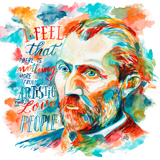 Vincet Van Gogh Quote Natilles Watercolor Artist
