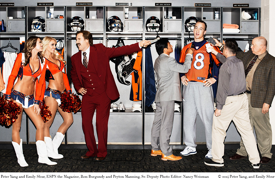 441af33bd Ron Burgundy and Peyton Manning for ESPN the Magazine by Peter Yang and  Emily Shur
