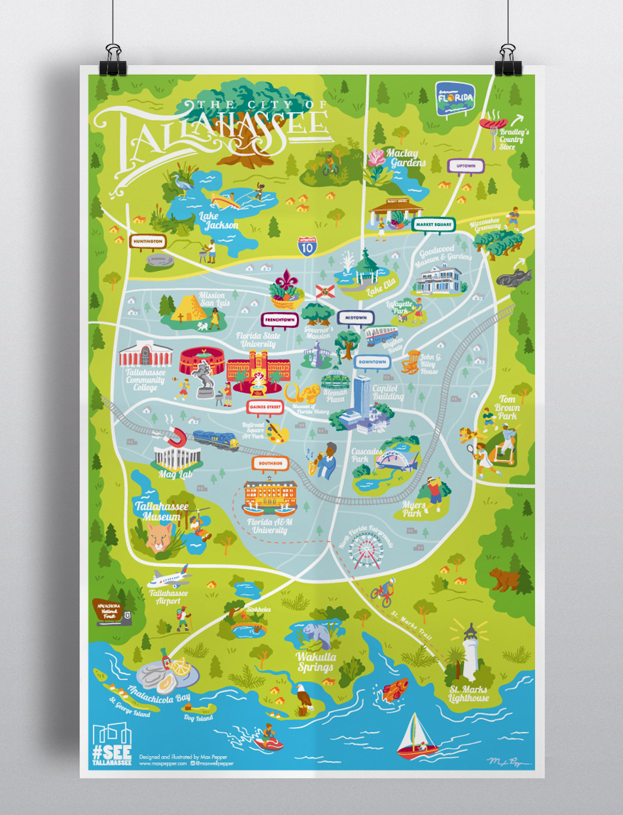 MAP OF TALLAHEE - Max Pepper Studio Map Of Downtown Tallahee on