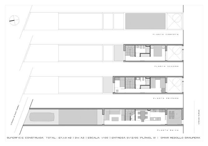 Vivienda estrecha bcn omar rebollo arquitectura - Casas estrechas y largas ...