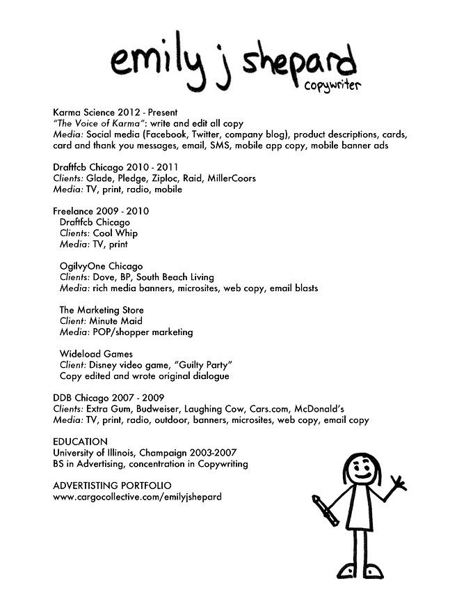 resume emily j shepard copywriter