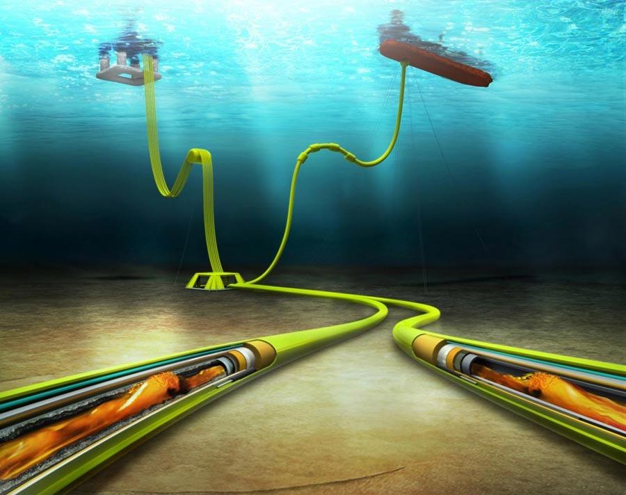 Underwater pipeline illustration schlumberger sketch