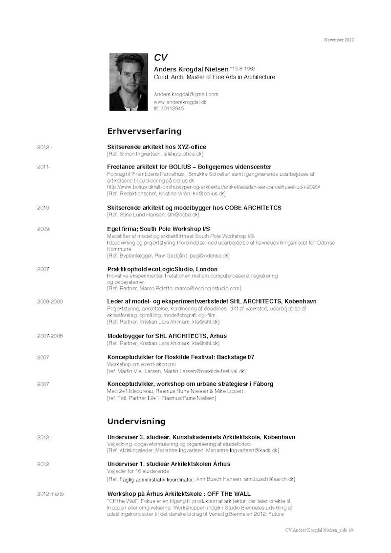 New Resume Samples Architect Cv