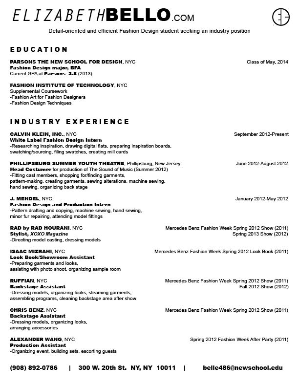 Fashion Designer Resume Format | Resume Format And Resume Maker