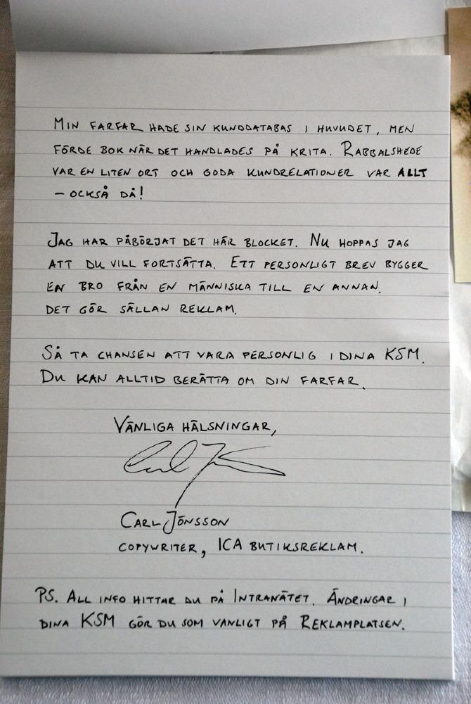 Personligt brev till ica