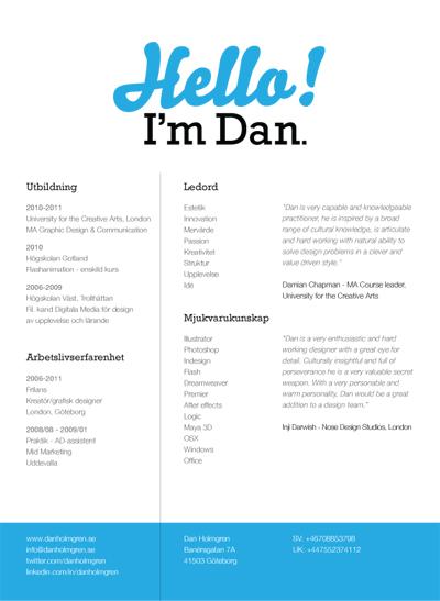 My CV - Dan Holmgren - Graphic Designer