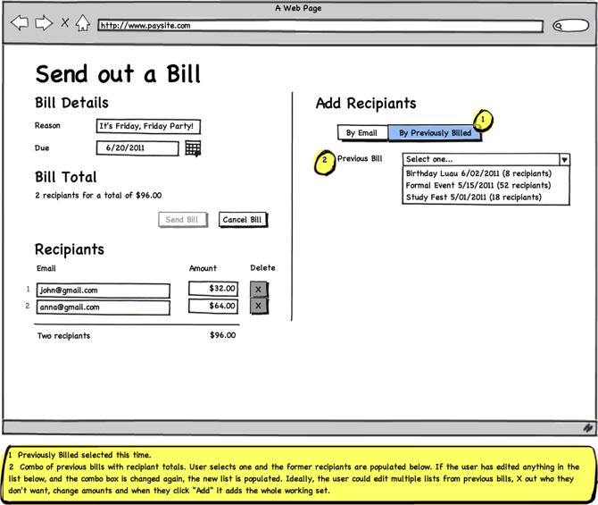 bill payment balsamiq mockup