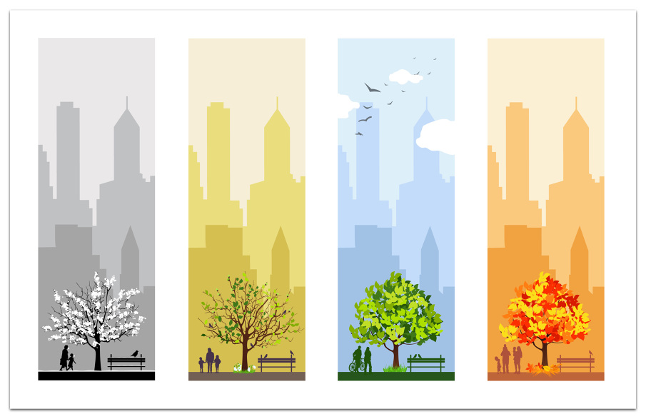 Illustrations ryan chung for 4 seasons decoration