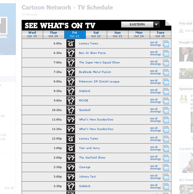 Cartoon Network Schedule Lol