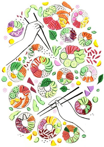 FUET Magazine: Sushi Donuts - Jayde Perkin Illustration
