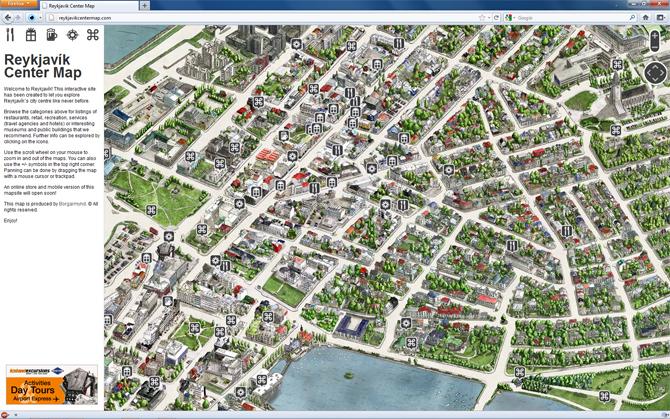 Reykjavik Center Map Borgarmynd - Reykjavík map