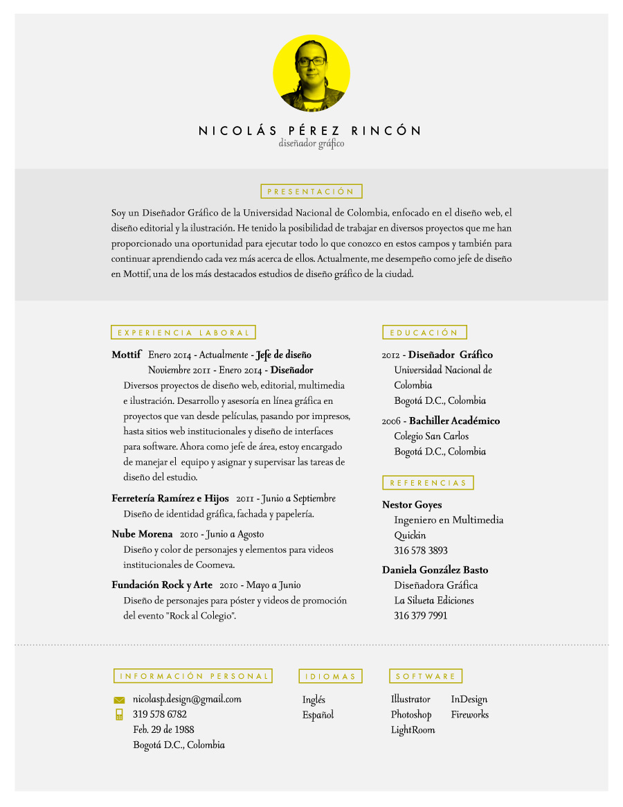 Hoja de vida - Nicolás Pérez - Diseñador Gráfico