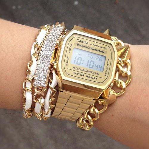 Casio Gold Plated Digital Watch Set Them Free