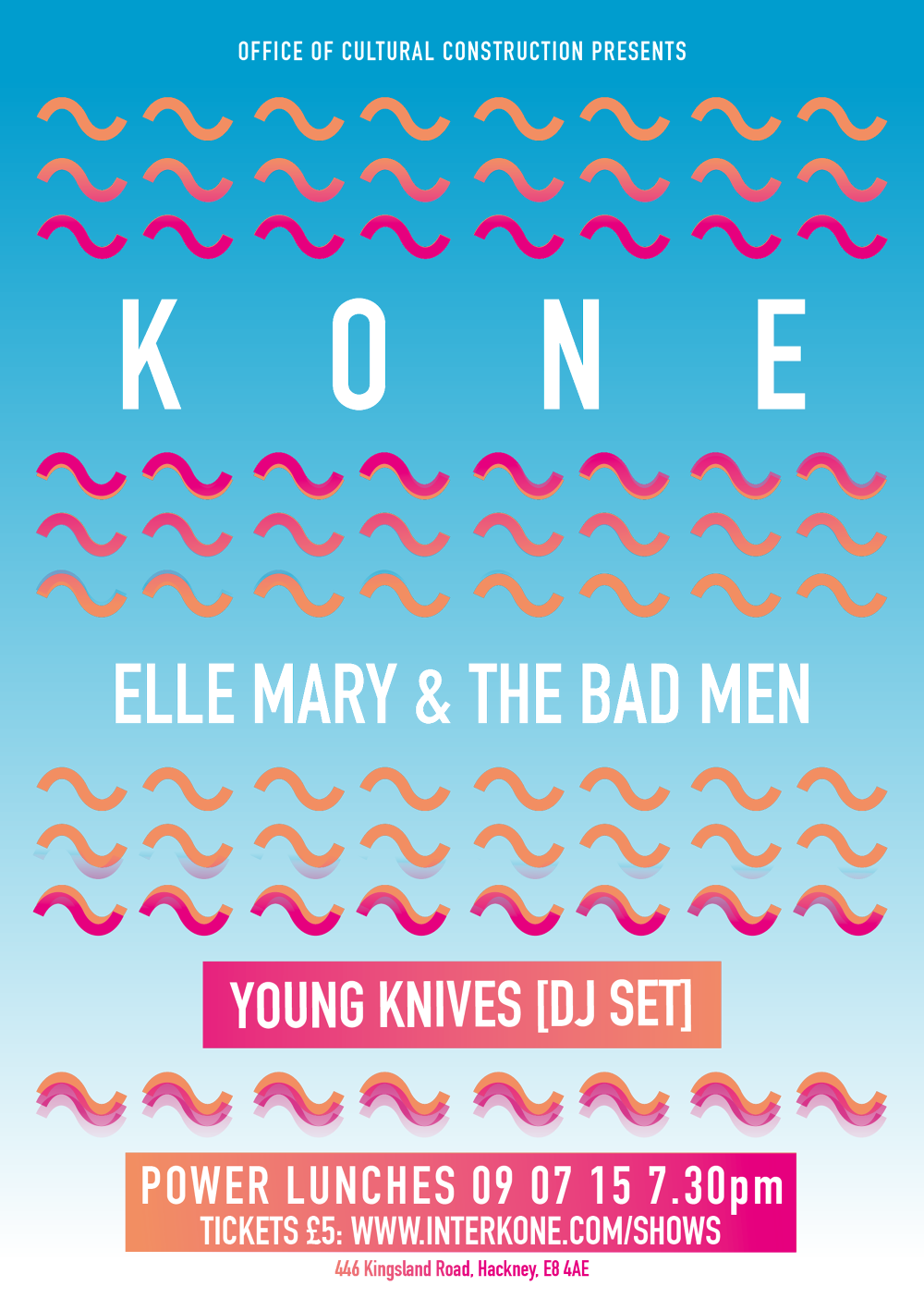 THURSDAY 9TH JULY: Kone, EM&TBM, Young Knives (DJ set) / Power