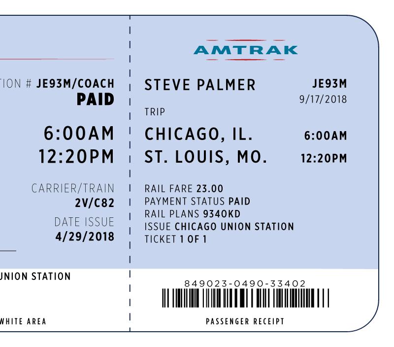 Amtrak Ticket - Alex Ha