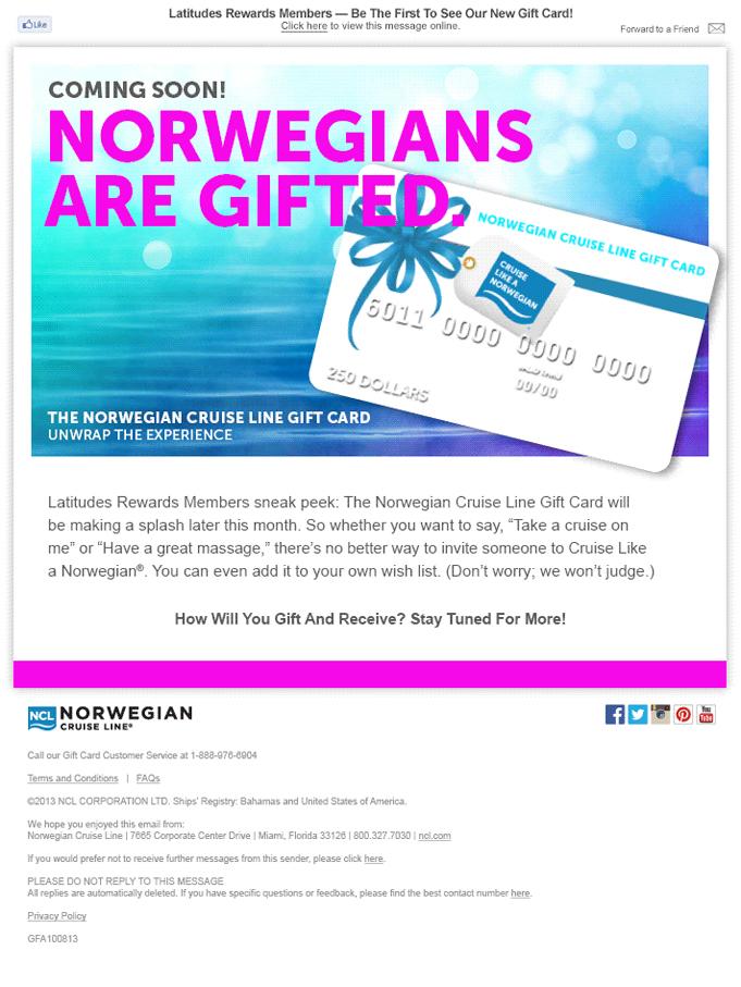 Norwegian Cruise Line Gift Card Launch Michelle Bielecki Copywriter