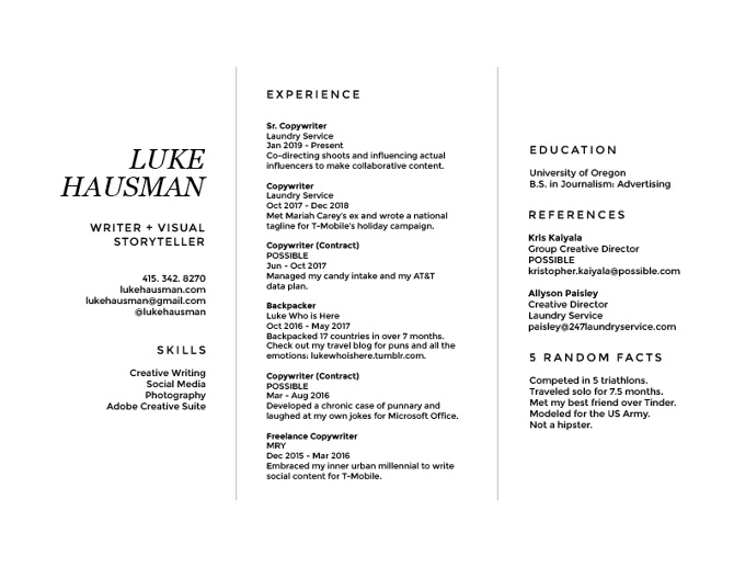 Résumé - Luke Hausman