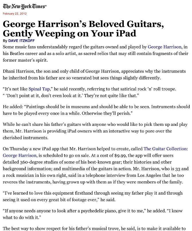 George Harrison iPAD App - Steven Sebring