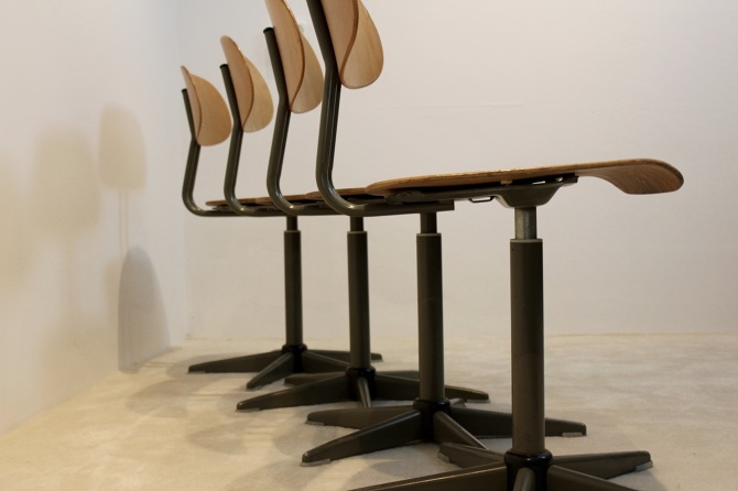 Industrial Plywood Swivelchairs Netherlands 1960s
