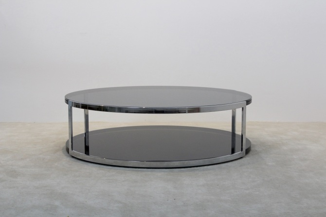Salontafel Glas Chroom.Belgochrom Chrome And Smoked Glass Coffee Table