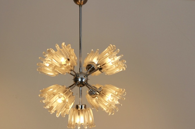 Chrome And Frosted Tulip Glass Chandelier By Doria