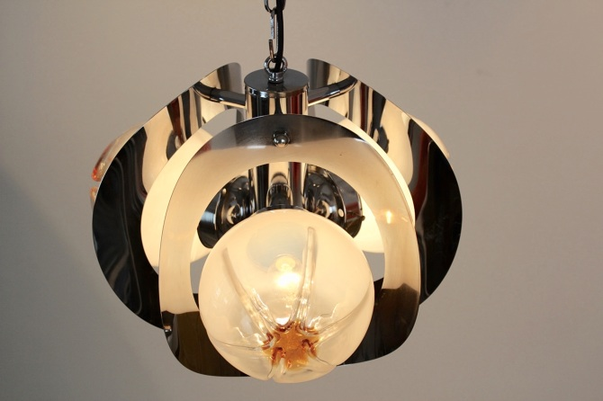 Geometric Chrome And Frosted Glass Chandelier By A V