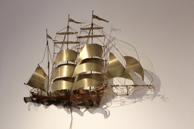 Daniel D Haeseleer Sailing Vessel Wall Light Sculpture