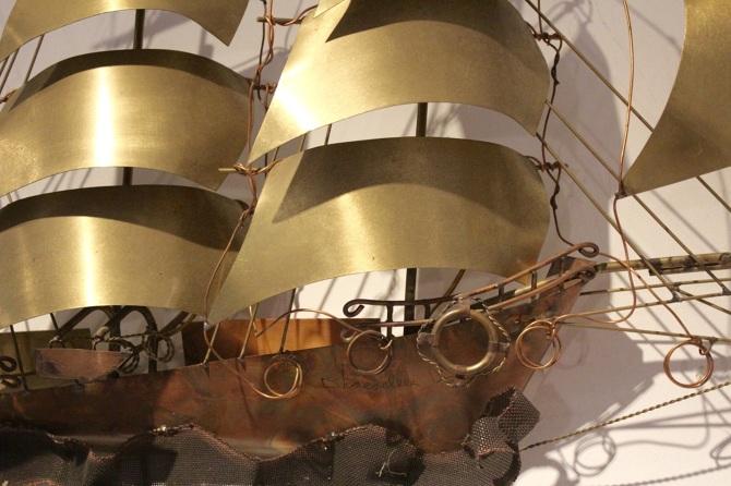 Daniel D Haeseleer Sailing Vessel Wall Light Sculpture Mooiestukken