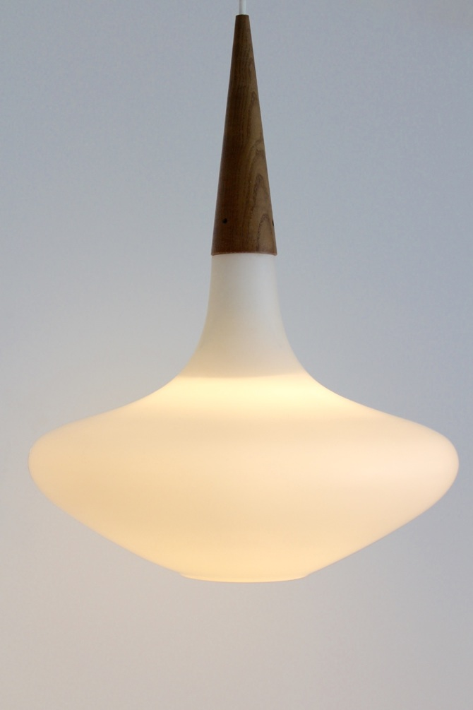 Philips Wood And Opal Glass Pendant Lamp By Louis Kalff