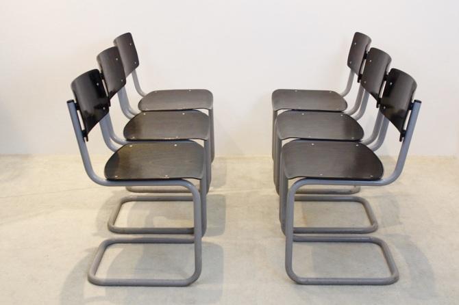 Fabulous Set Of Six Gispen Industrial Plywood Chairs Mooiestukken Inzonedesignstudio Interior Chair Design Inzonedesignstudiocom