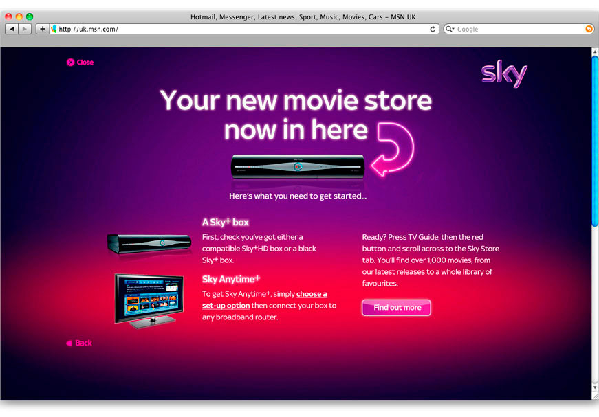 MSN UK HOTMAIL MESSENGER LATEST NEWS SPORT - Sky Store is