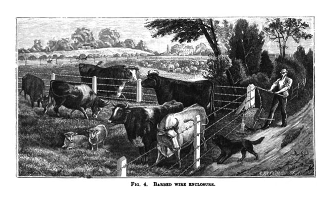 Barbed wire fence cattle Pasture Stretching Barbed Wire Around Corner Shown In This Engraving From Treatise Upon Wire Its Manufacture And Uses Embracing Comprehensive Descriptions Of Ted Ideas Invisible Fences An Interview With Dean Anderson Venue