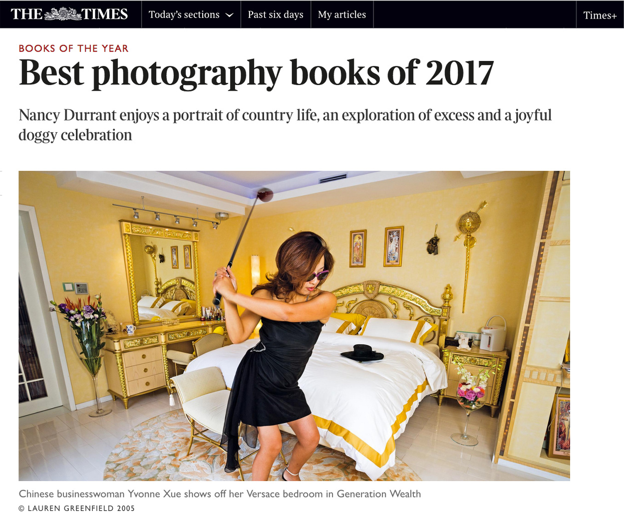 The Times awards Lauren Greenfield's GENERATION WEALTH #1 of