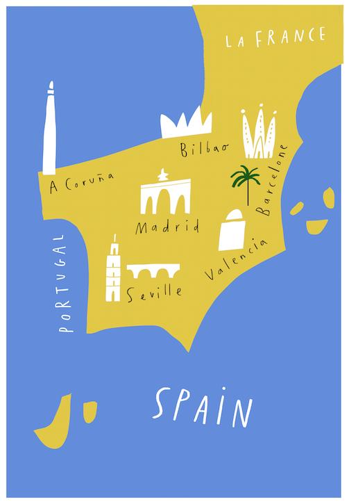 Spain Maps - mercedes leon illustration