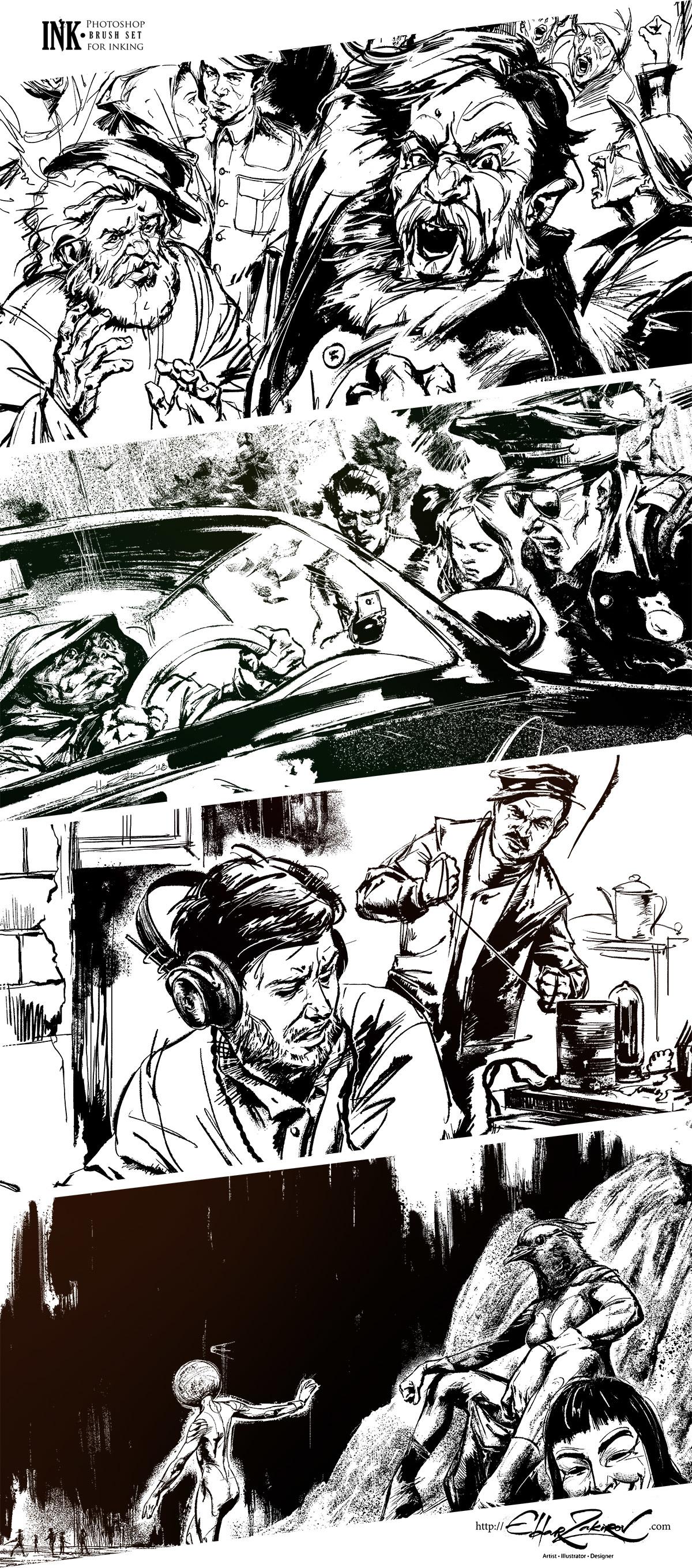 INK • 40 Photoshop Brushes for Inking - The Art of Eldar Zakirov