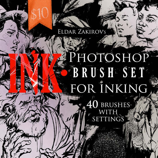 INK • 40 Photoshop Brushes for Inking - The Art of Eldar Zakirov