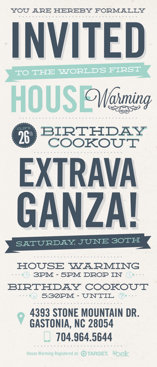 Typographic Themed Invitation For Housewarming Birthday Cookout Celebration