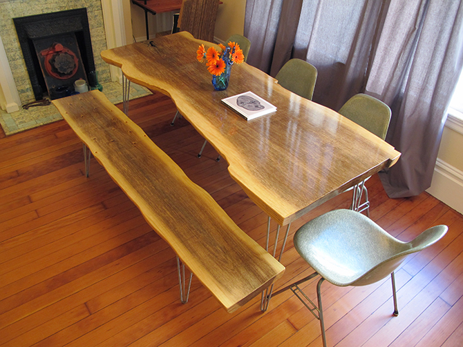 Bon My Wife And I Love The Look Of Reclaimed Wood Slab Tables. But After  Researching, The Price For A 6 Foot Slab Of Redwood Was Pretty Steep.