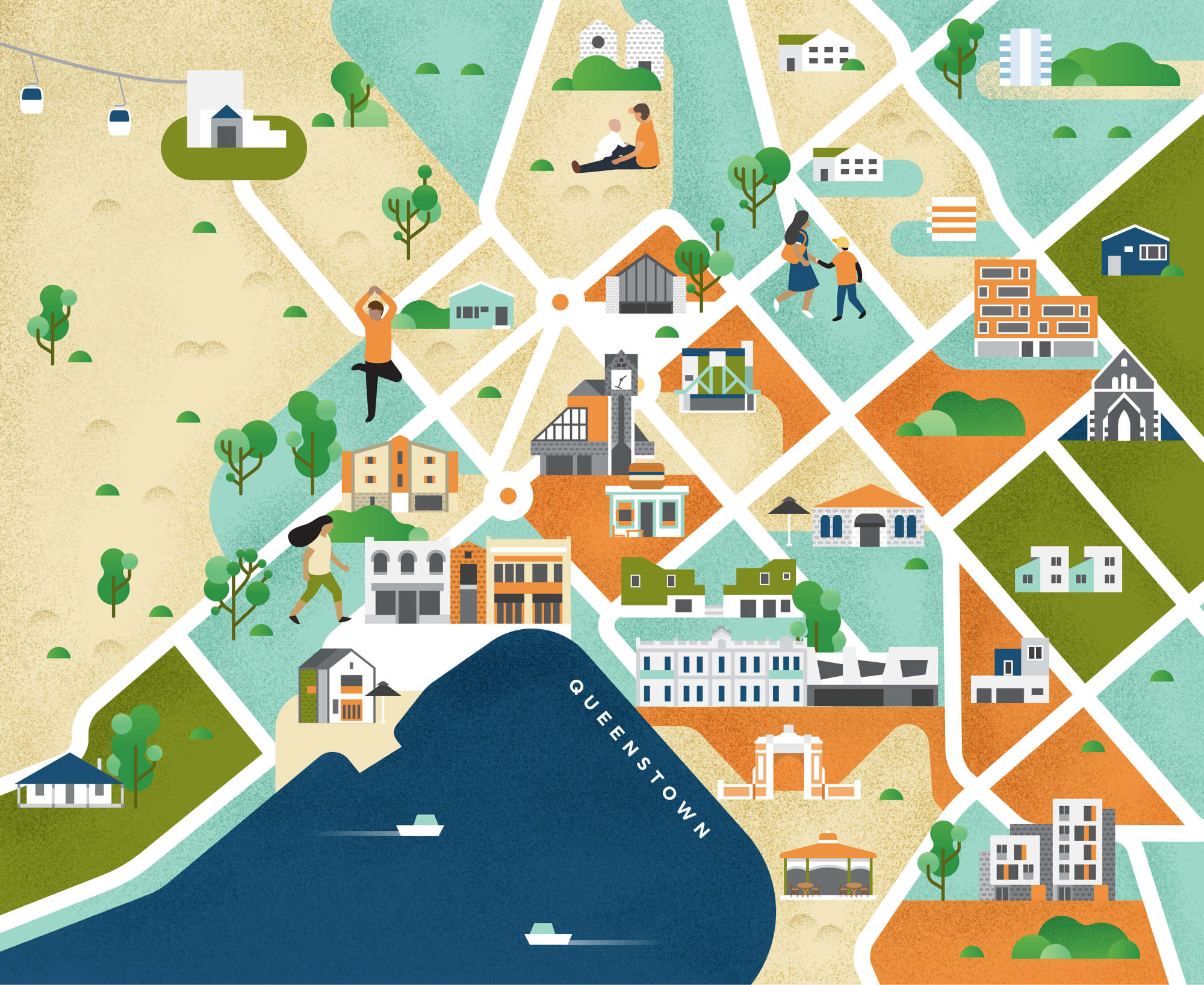Map Of New Zealand Queenstown.Maps Of New Zealand Jing Zhang Illustration