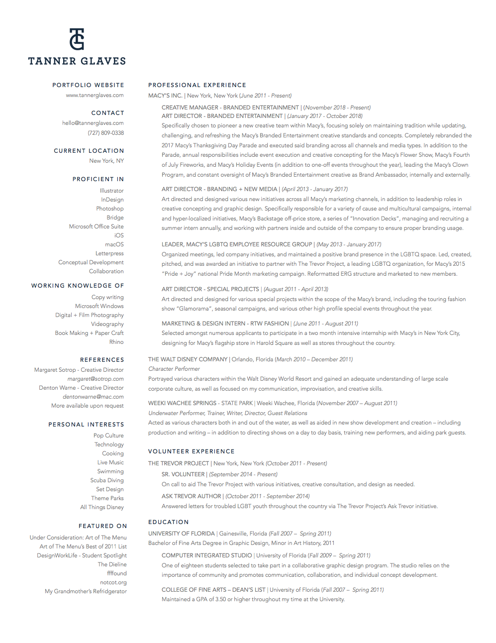 Resume + Contact Information - Tanner Glaves
