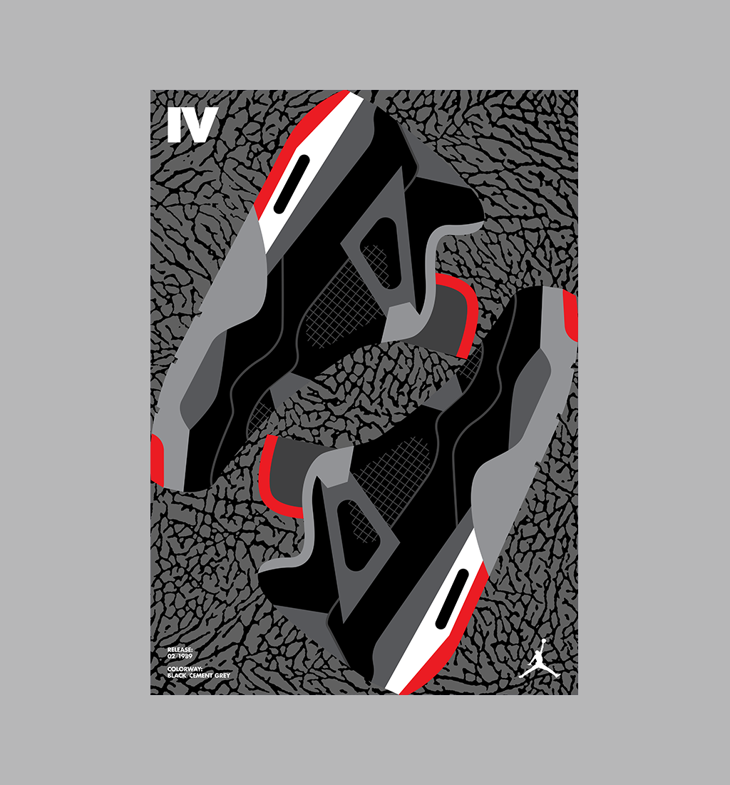 Part of a poster series for Air Jordan s 25th Anniversary (Jordan IV  pictured below) 58ec782512