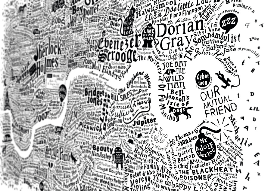 Literary London Map Literary London Art Prints Limited Edition