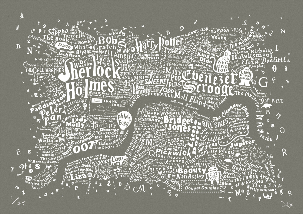 Central London Map To Print.Literary Central London Map Literary London Art Prints