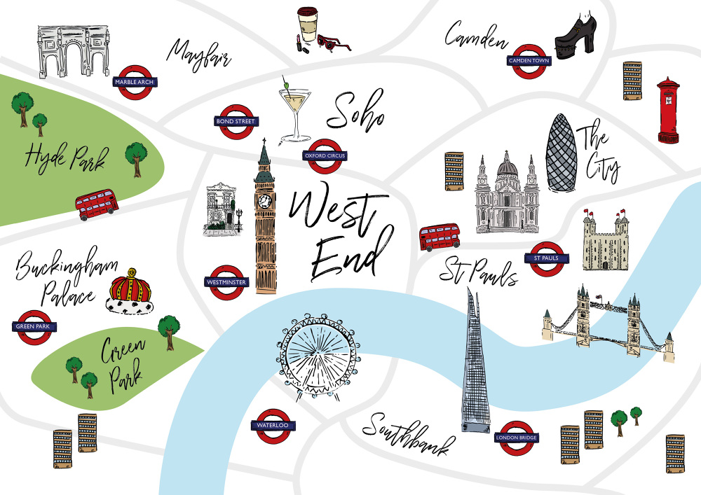London Landmarks Map.London Josh Bristow
