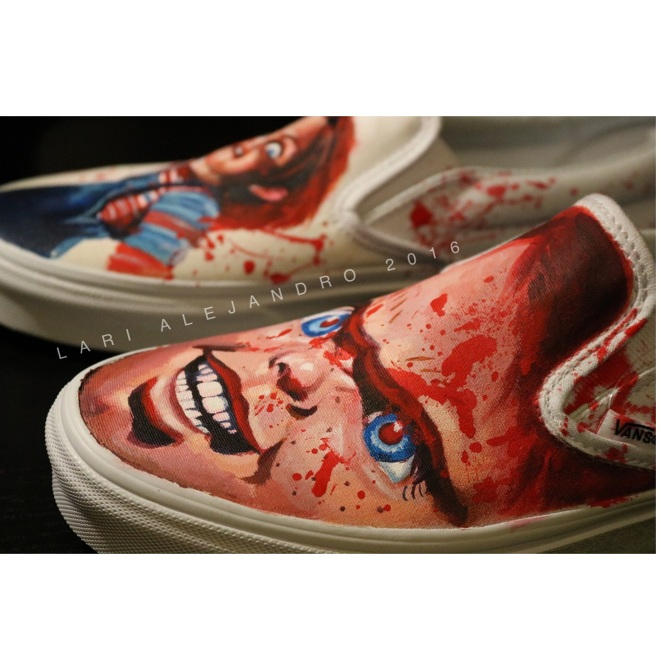 f6c1e6f3e65f Hand painted shoe art featuring our favorite Good Guy doll.
