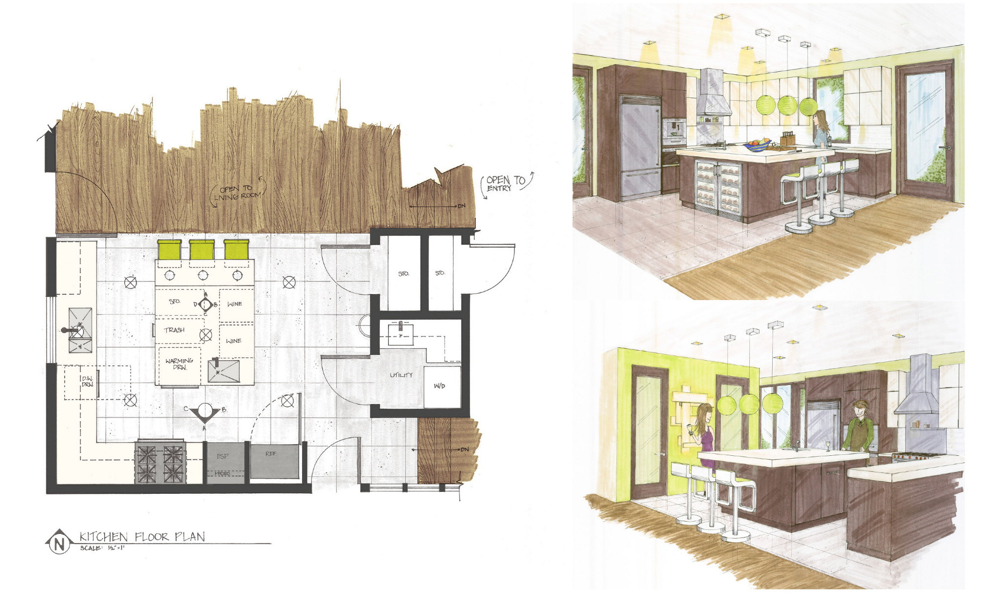 Residential Concept Design Hand Drafting Rendering Gina Soohoo Interior Design