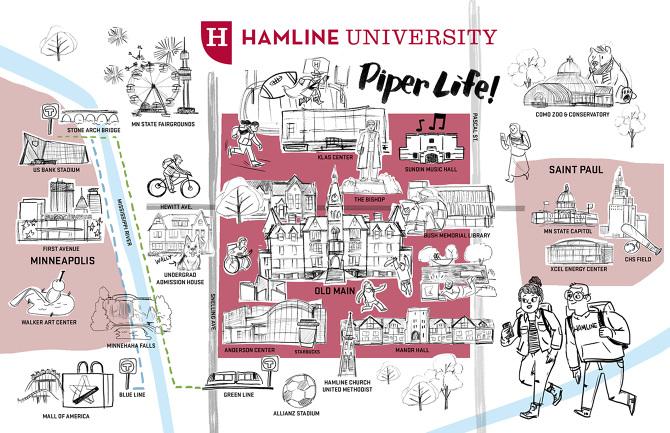 Hamline Piper Life Map Bill Ferenc Illustrator