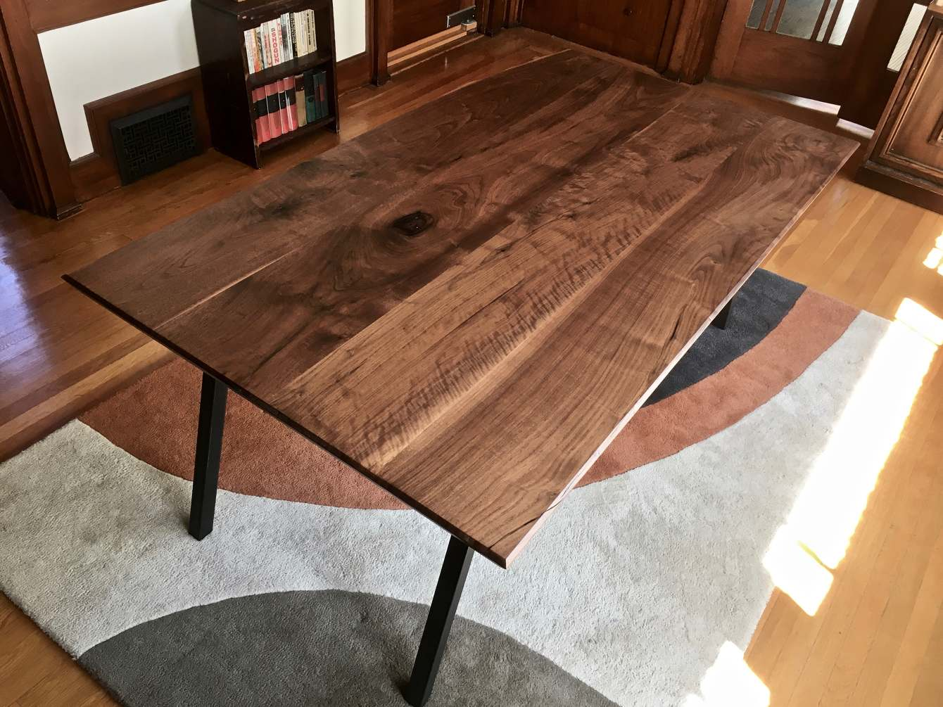 Mid-Century-Modern Black Walnut Dining Table - Ambrose Woodworks